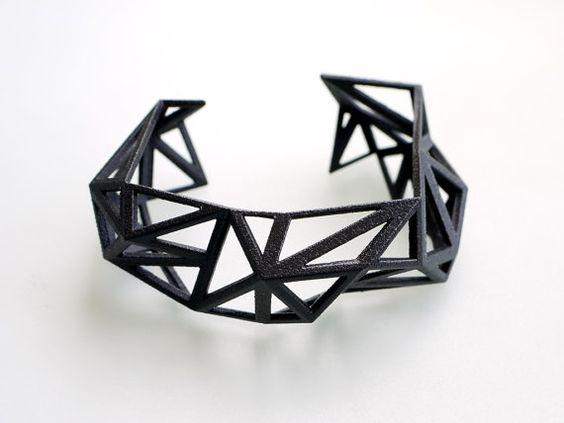brassard gomtrique noir bracelet manchette triangules en noir finition glossy mode moderne jai