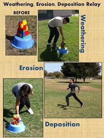Weathering, Erosion, Deposition Relay I saw this on a few pins and tried to adapt it to work in my classroom. Since I teach science t...