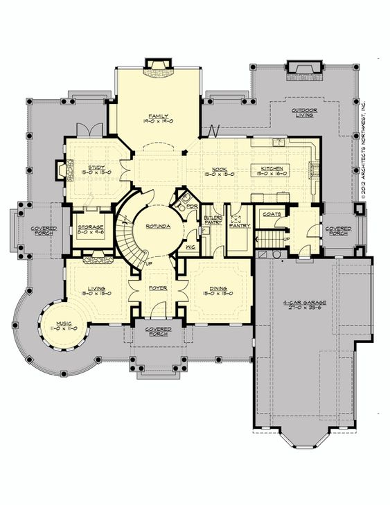 Main Floor Plan for Chatham Hall. 7050 sq ft + 1100 sq ft 4 car garage. 3 stories, 6 bedrooms, 6 full baths, 1 half bath, bonus room and craft room. Plan# M5900A4S-1