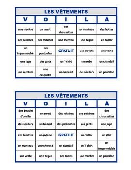 voil pour les v tements french clothing bingo bingo french and vocabulary practice. Black Bedroom Furniture Sets. Home Design Ideas