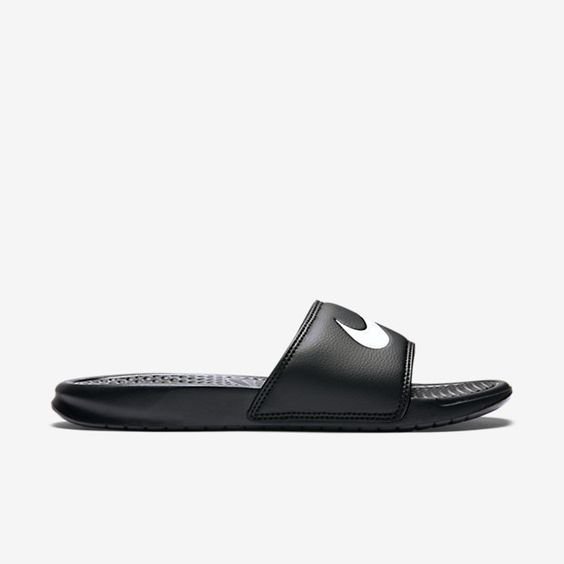 SLIP-ON COMFORT A slip-on classic, the Nike Benassi Swoosh Men's Slide features a massaging footbed and cushioned comfort for your foot. Benefits One-piece upper for a comfortable fit Injected Phylon midsole with a textured footbed for a massaging feel Injected Phylon outsole with herringbone pattern for traction