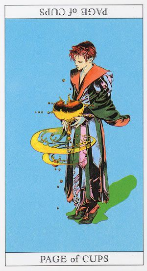 Love and Mystery Tarot, by Yoshitaka Amano: Page of Cups
