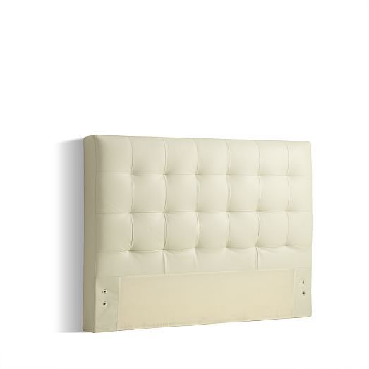 Low Grid-Tufted Leather Bed - Ivory | west elm