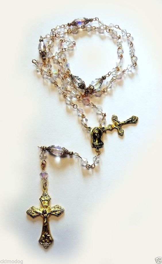 Genuine Austrian Vintage Clear AB Crystal Gold Holy Mother Rosary