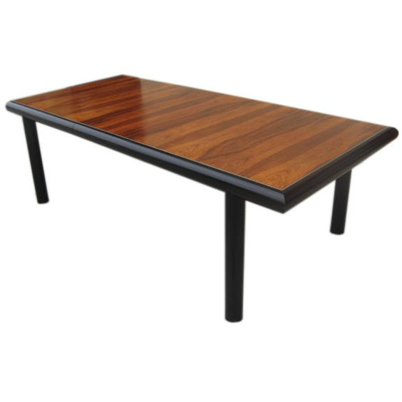 Mid-Century Rosewood and Black Lacquer Parson Table | From a unique collection of antique and modern dining room tables at http://www.1stdibs.com/furniture/tables/dining-room-tables/