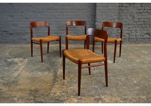 4x Vintage Danish Niels Moller Model 75 Dining Chairs Teak Papercord Antique Dining Chairs Dining Chairs Antique Chairs