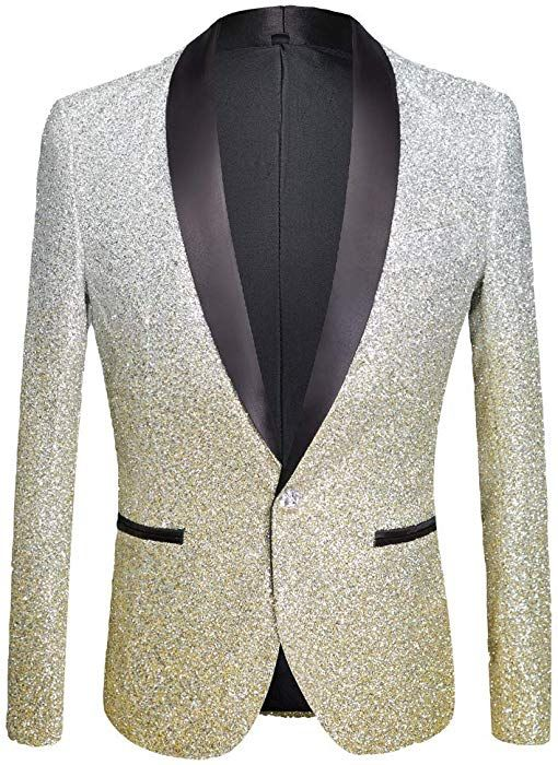 Men/'s Slim Fit Formal Casual Suit One Button Sparkling Coat Jacket Shining Tops