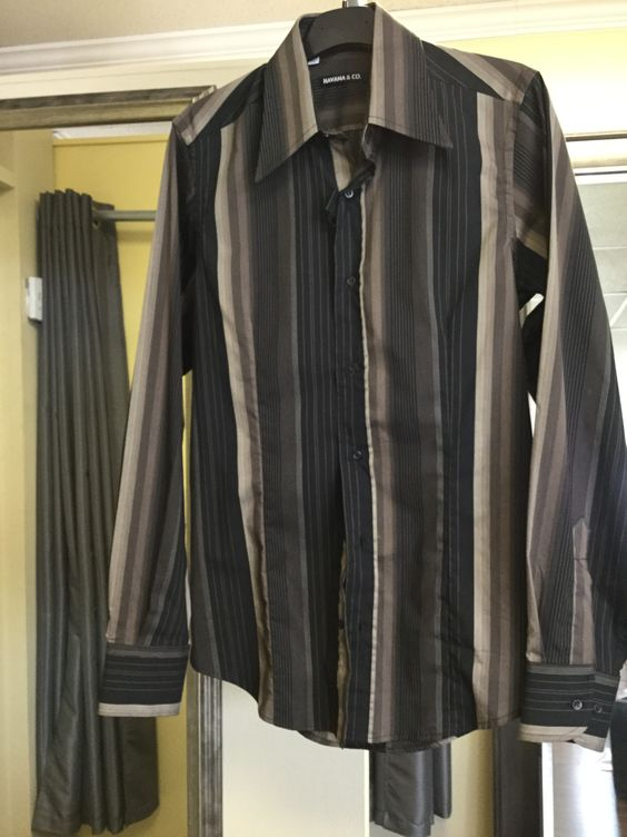Shirt, black with taupe and brown stripes, fitted