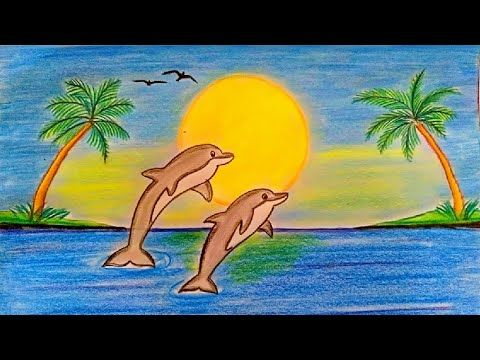 رسم منظر طبيعي سهل رسم منظر طبيعي بالالوان الخشبية رسم مناظر طبيعية تعليم الرسم Youtube Painting Art Tri