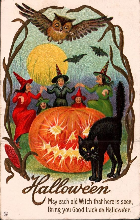 1920s Vintage Halloween Postcard-Witches-Black Cat-Owl-Jack o Lantern: