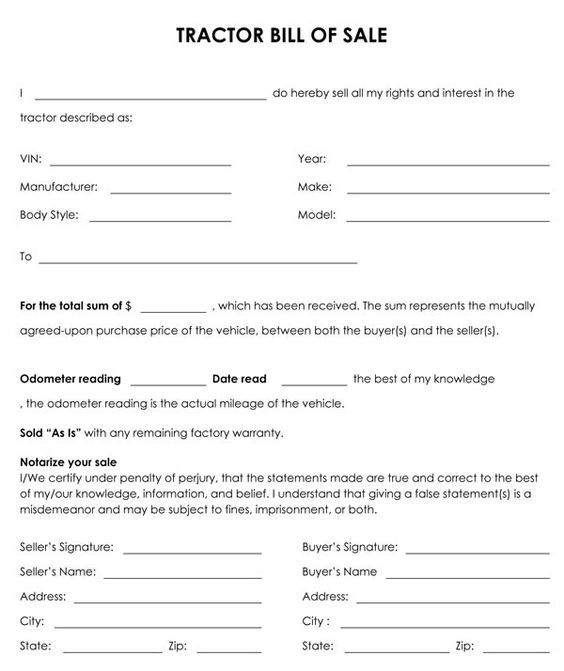 Free Printable Tractor Bill Of Sale Form Generic Bill Of Sale