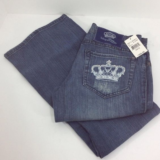 """Victoria Beckham Madrid Rock & Republic Jeans Rock & Republic Victoria Beckham Madrid Blue Jeans. Never worn. Size 26 with a 33"""" inseam.  With crown rhinestone pockets and a boot flare leg.  RN# 110113. CA # 41387. Victoria Beckham Jeans Boot Cut"""