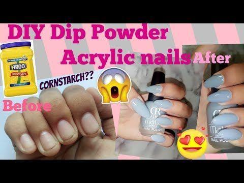 Diy Dip Powder Acrylic Nails At Home Using Cornstarch Easy Quick Cheap Youtube Diy Acrylic Nails Acrylic Nails At Home Acrylic Nail Powder