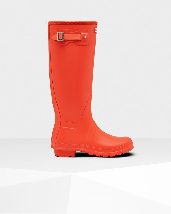 Womens Orange Tall Rain Boots | Official US Hunter Boots Store ...