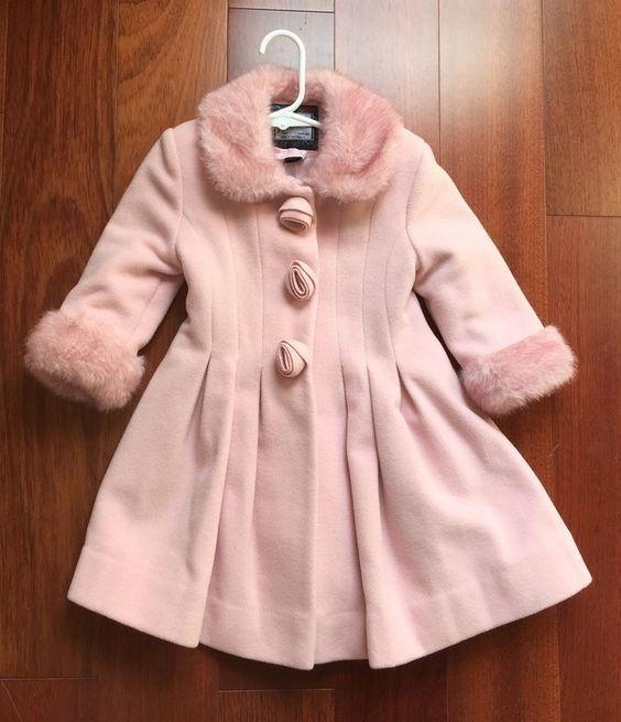 Rothschild Pink Wool Toddler Girls Coat Sz 2T Faux Fur Collar
