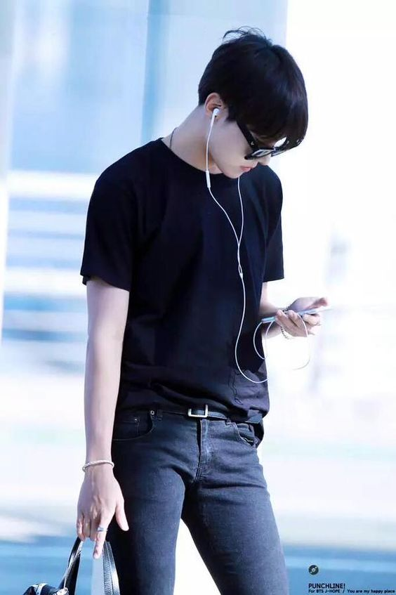 J-Hope looks so fresh in black tees and denim jeans. Like...he is so handsome anyway, but something about his casual looks gets to me. ❤️