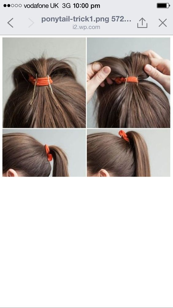 Clever high ponytail trick