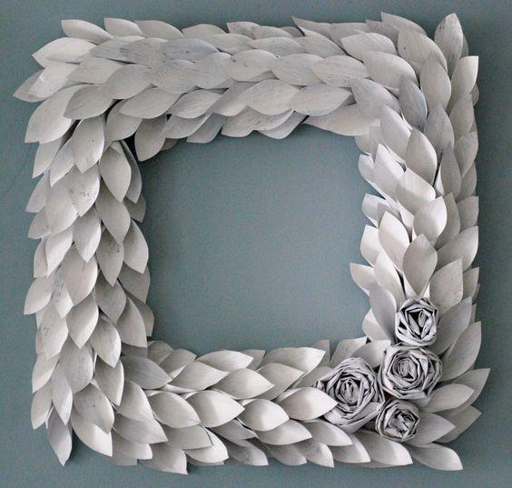 square white paper wreath 18 inch newspaper rosette and leaf