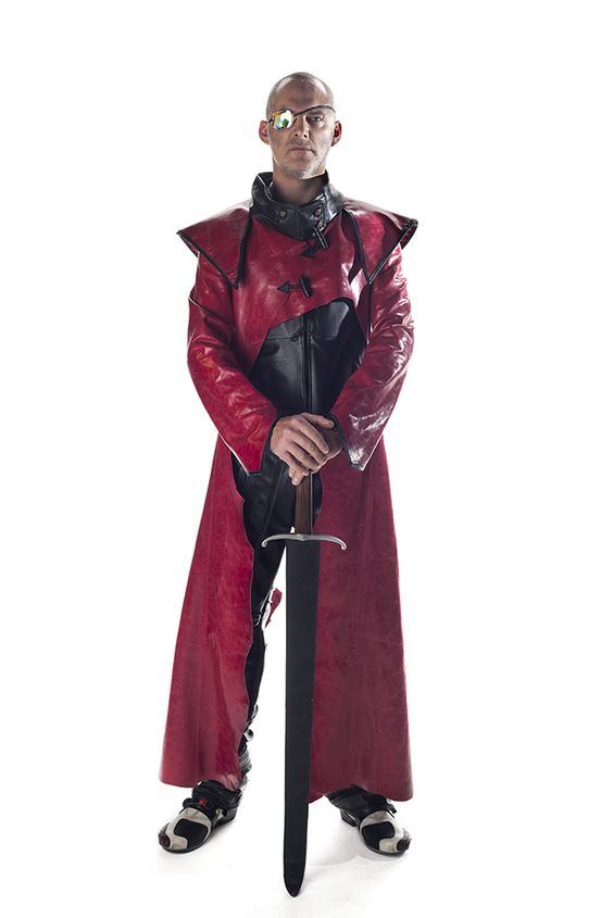 Wotan: Coat: leather, Waistcoat: recycled leather, Trousers: bicycle inner-tubes. Photographer: Julie Mullin, Model: Terry Young