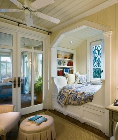 I love the coziness of window seats.  For me, this is the perfect bedroom!!
