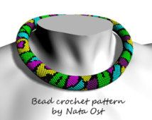 "Bead Crochet rope pattern necklace or bracelet ""Bright life"""