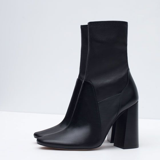 LEATHER HIGH HEEL ANKLE BOOTS | shoes | Pinterest | Leather high