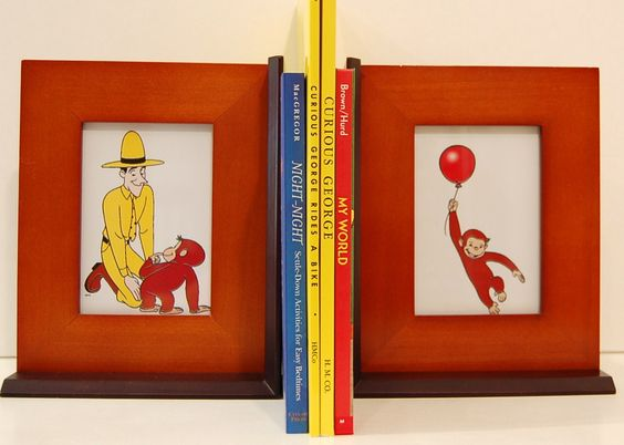 Vintage Curious George Bookends Teak Fur And Black Wood Picture Frame Decorative Accents 19 99