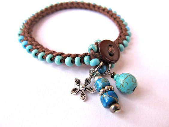 Crochet bracciale, in rilievo, bracciale, aqua di accatastamento, uncinetto, gioielli, braccialetto di fascino, moda autunno, boho bracciale, gioielli di Boemia