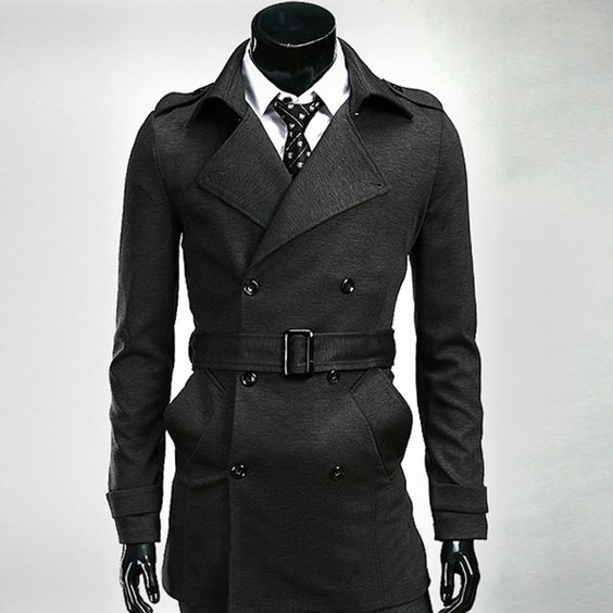 Mens Coats Red Black Long Trench Coat Men With Belt 2014 Winter