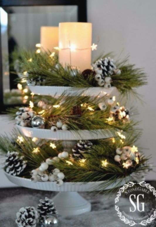 Christmas Centerpieces Cheap Budget Hygge Winterwonderland W In 2020 Christmas Table Decorations Centerpiece Christmas Table Decorations Holiday Table Decorations