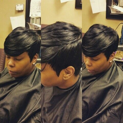 27 piece weave hairstyles pictures : Sew in 27 piece with a invisible part. Short hair style