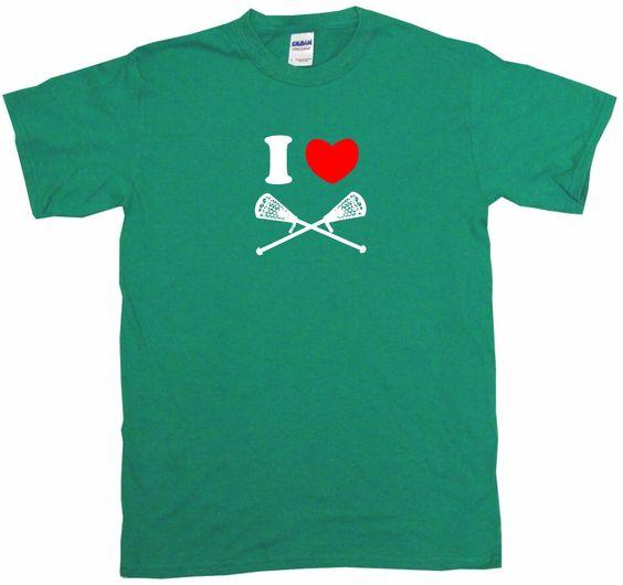 I Heart Love Crossed Lacrosse Sticks Tee Shirt OR Hoodie Sweat