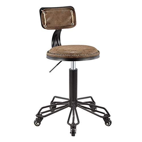 Retro Rolling Stool With Mid Back Height Adjustable Office