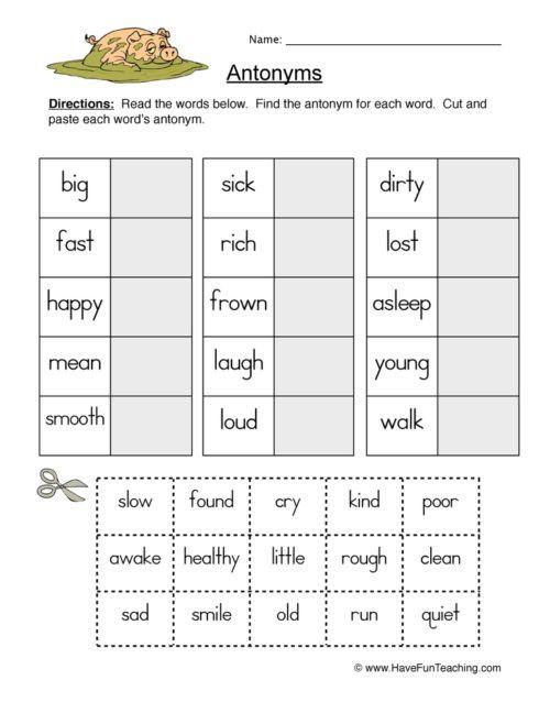 First Grade Antonyms Worksheet Antonyms Worksheets Have Fun Teaching In 2021 Antonyms Worksheet Antonyms Have Fun Teaching First grade antonyms worksheet