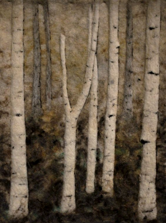 birches Felted tapestry (can use as thermal window and door cover in winter)