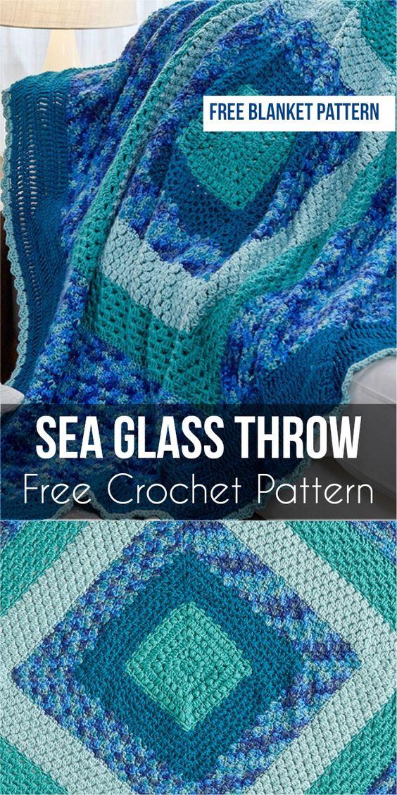 Sea Glass Throw - Free Crochet Pattern #crochet #throw #freecrochetpatterns #homedecorideas #SeaGlassThrow