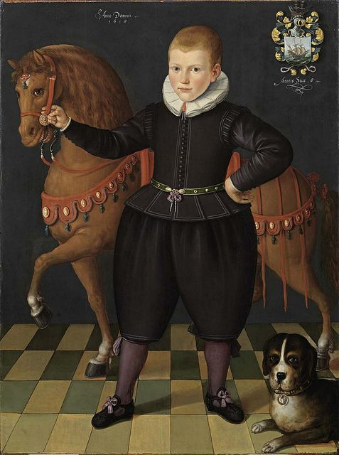 Unknown artist, Portrait of an eight-year-old boy of the Blauhulck-family with a horse and a dog, 1618: