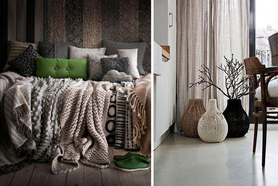 knitted vases