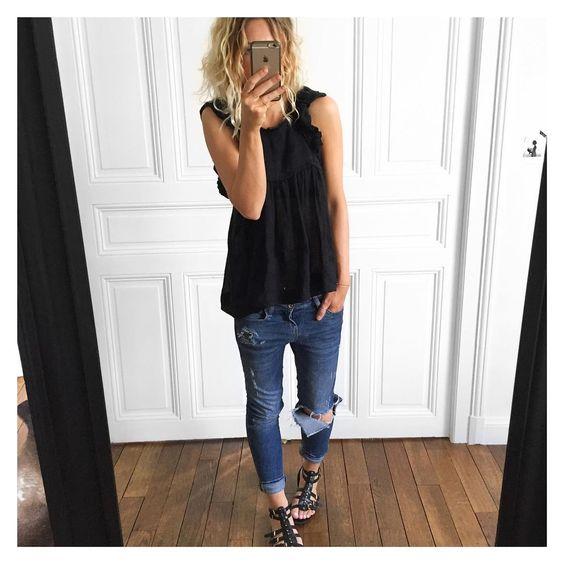 "@meleponym auf Instagram: ""Marre de cette chaleur journée sans effort✔ Top #isabelmarant jean #Zara sandales #old #tex #ootd"":"