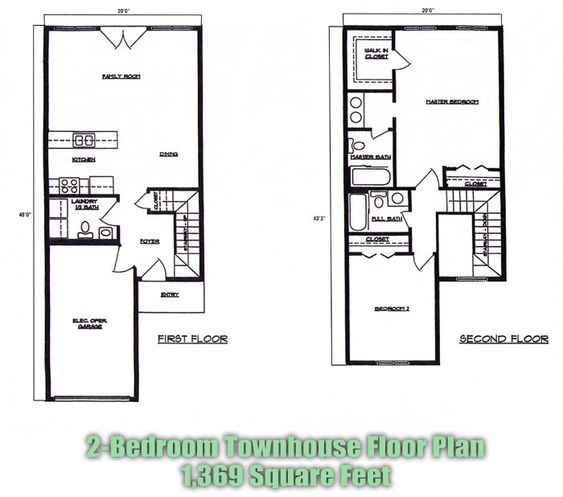 Many other plans 2 bedroom townhouse floor plans brandl for Townhouse blueprints