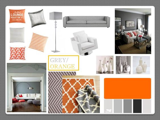 Orange And Grey Living Room Create A Mood Board Like This? Sofa: Dark Grey  | Unit: Teak | Ceiling, Blinds, Skirting: White | Fire Place: Stone/creau2026