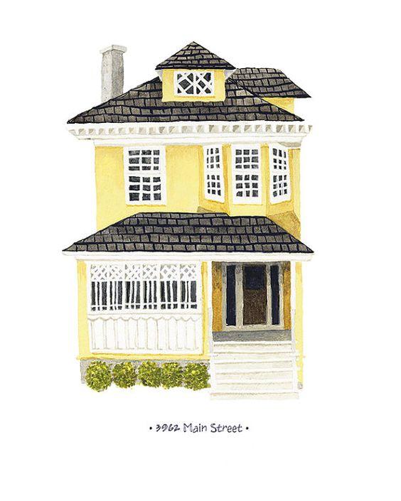 Zollhaus-Porträt - personalisierte Gemälde Ihres Hauses (Haus Porträt)