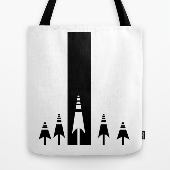 Black and white forest tote bag