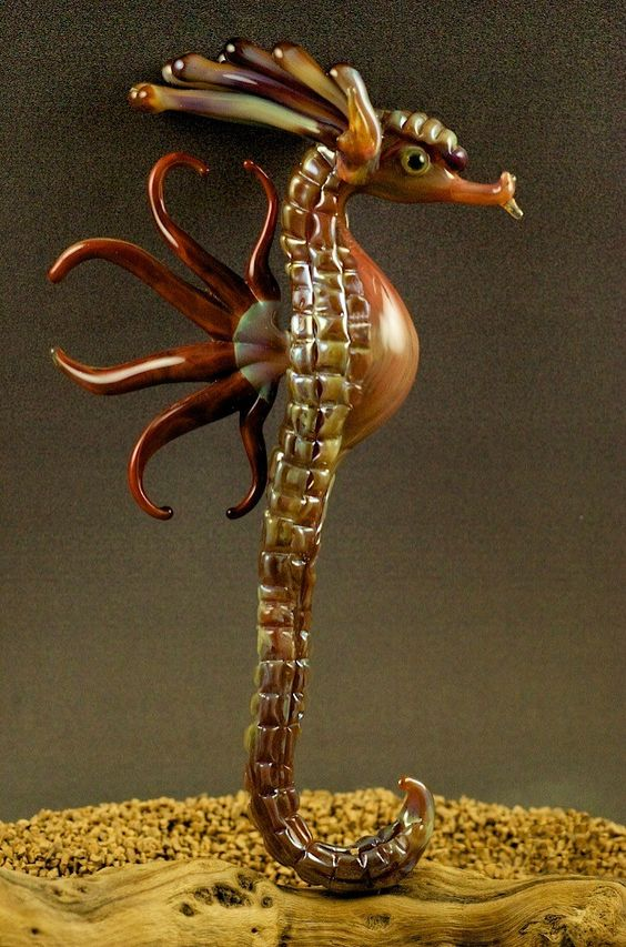 Majestic Coral - Handmade Boro Seahorse Sculpture