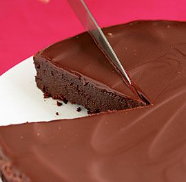 Flourless Chocolate Cake with Chocolate Glaze-Amazing...tastes like cheesecake.