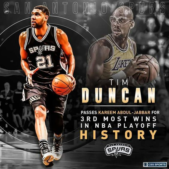 Spurs Tim Duncan 3rd Most Wins in NBA PLAYOFF HISTORY. #GoSpursGo #SpursNation #TimDuncan