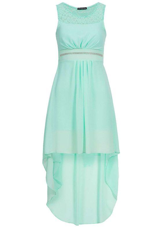 Styleboom Fashion Vokuhila Chiffon Kleid Spitze Bindeband Brustpads teils transp mint gn - 77onlineshop