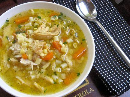 Golden Chicken, Corn, and Noodle Soup with Saffron