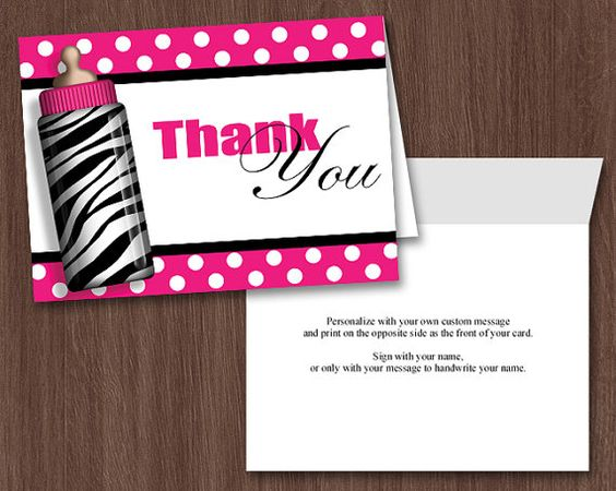 printable baby shower thank you card hot pink zebra print baby, Wedding invitations