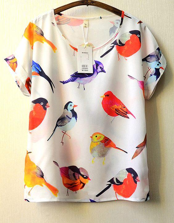White Short Sleeve Birds Print Blouse - Sheinside.com